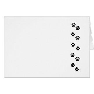 Dog Paws, Traces, Paw-prints - White Black Card