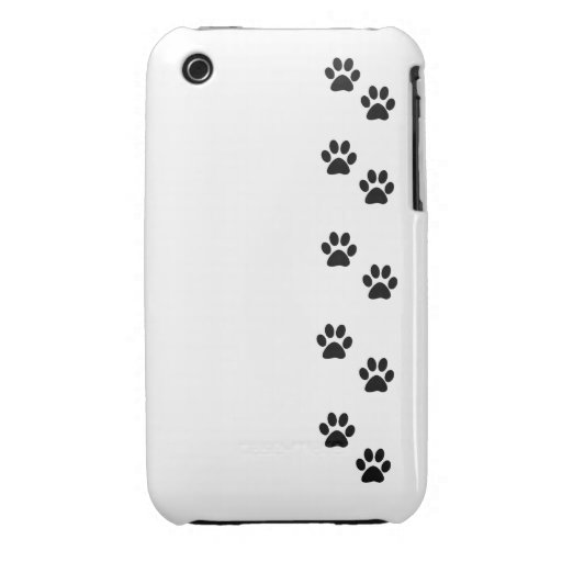 Dog Paws, Traces, Paw-prints - White Black iPhone 3 Case-Mate Case