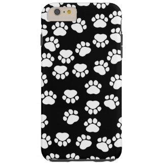 Dog Paws, Traces, Paw-prints - White Black Tough iPhone 6 Plus Case