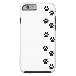 Dog Paws, Traces, Paw-prints - White Black Tough iPhone 6 Case