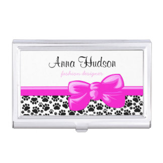 Dog Paws, Traces, Paw-prints - White Black Case For Business Cards