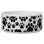 Dog Paws, Traces, Paw-prints - White Black Dog Food Bowl