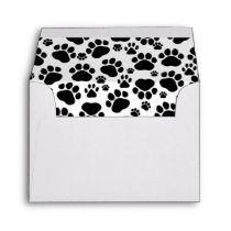 Dog Paws, Traces, Paw-prints - White Black Envelope