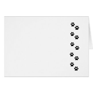 Dog Paws, Traces, Paw-prints - White Black Greeting Card