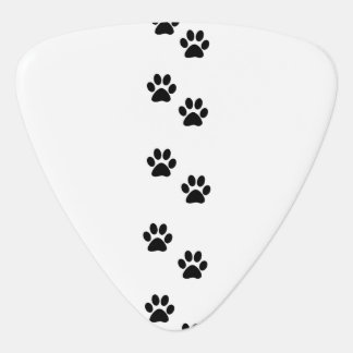 Dog Paws, Traces, Paw-prints - White Black Guitar Pick