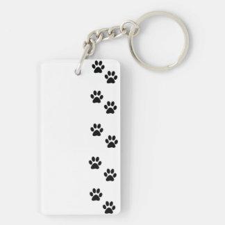 Dog Paws, Traces, Paw-prints - White Black Double-Sided Rectangular Acrylic Keychain