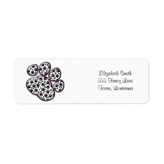 Dog Paws, Traces, Paw-prints - White Black Return Address Labels