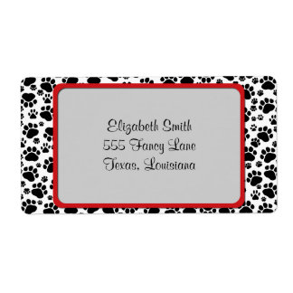 Dog Paws, Traces, Paw-prints - White Black Custom Shipping Label