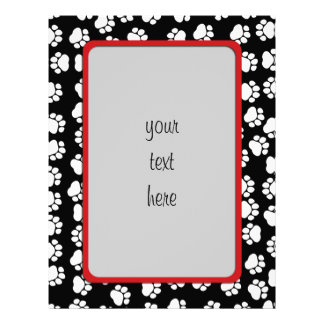 Dog Paws, Traces, Paw-prints - White Black Personalized Letterhead