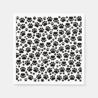 Dog Paws, Traces, Paw-prints - White Black Paper Napkin