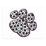 Dog Paws, Traces, Paw-prints - White Black Post Card