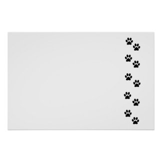 Dog Paws, Traces, Paw-prints - White Black Poster