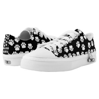 Dog Paws, Traces, Paw-prints - White Black Printed Shoes