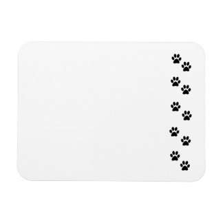 Dog Paws, Traces, Paw-prints - White Black Rectangular Photo Magnet