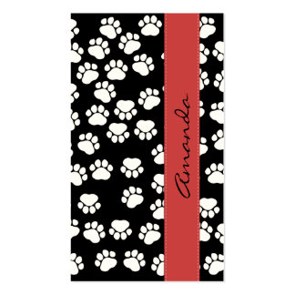 Dog Paws, Traces, Paw-prints - White Black Red Double-Sided Standard Business Cards (Pack Of 100)