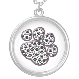 Dog Paws, Traces, Paw-prints - White Black Round Pendant Necklace