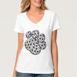 Dog Paws, Traces, Paw-prints - White Black T-Shirt