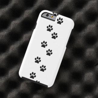 Dog Paws, Traces, Paw-prints - White Black Tough iPhone 6 Case