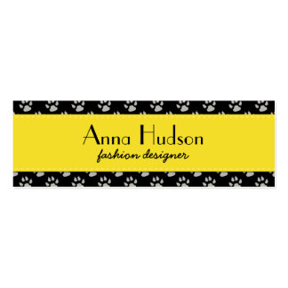 Dog Paws, Traces, Trails, Paw-prints - Black Gray Mini Business Card