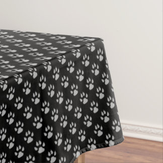 Dog Paws, Traces, Trails, Paw-prints - Black Gray Tablecloth