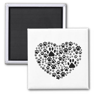 Dog Paws, Trails, Paw-prints, Heart - Black 2 Inch Square Magnet