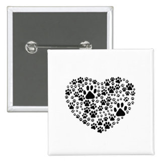 Dog Paws, Trails, Paw-prints, Heart - Black Pinback Buttons