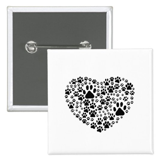 Dog Paws, Trails, Paw-prints, Heart - Black Button