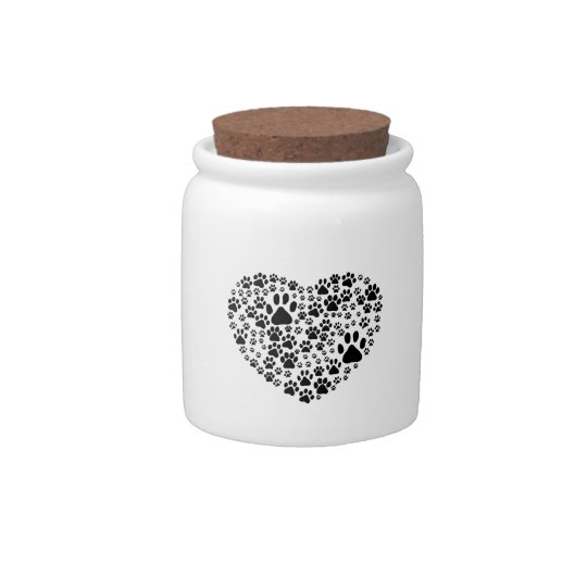 Dog Paws, Trails, Paw-prints, Heart - Black Candy Jar