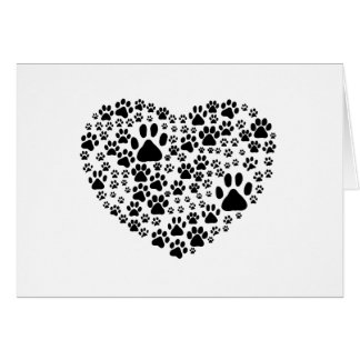 Dog Paws, Trails, Paw-prints, Heart - Black Greeting Card