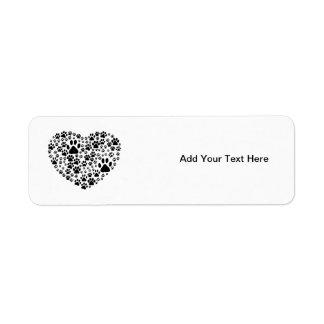 Dog Paws Trails Paw-prints Heart - Black Custom Return Address Labels