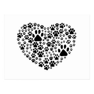 Dog Paws, Trails, Paw-prints, Heart - Black Postcard