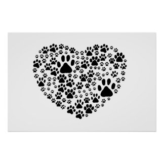 Dog Paws, Trails, Paw-prints, Heart - Black Poster
