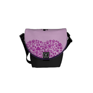 Dog Paws, Trails, Paw-prints, Heart - Black Purple Courier Bag