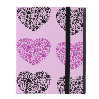 Dog Paws, Trails, Paw-prints, Heart - Black Purple iPad Cases