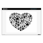 Dog Paws, Trails, Paw-prints, Heart - Black Laptop Skins