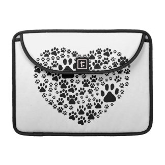 Dog Paws, Trails, Paw-prints, Heart - Black Sleeve For MacBook Pro