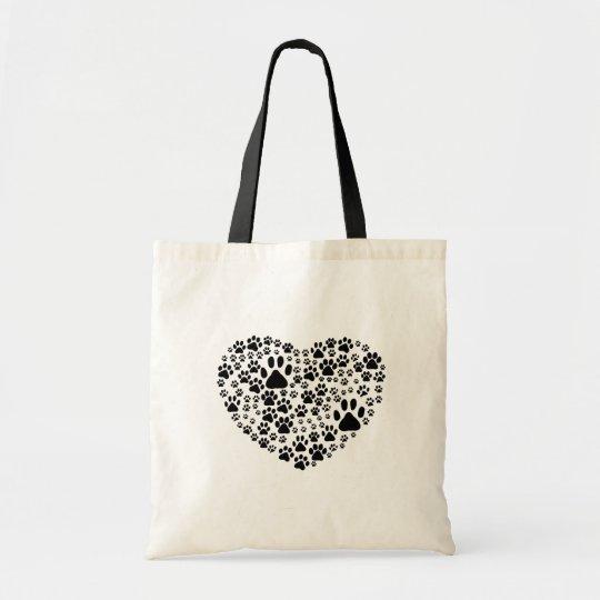 Dog Paws, Trails, Paw-prints, Heart - Black Tote Bag
