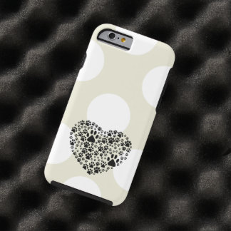 Dog Paws, Trails, Paw-prints, Heart - Black Tough iPhone 6 Case