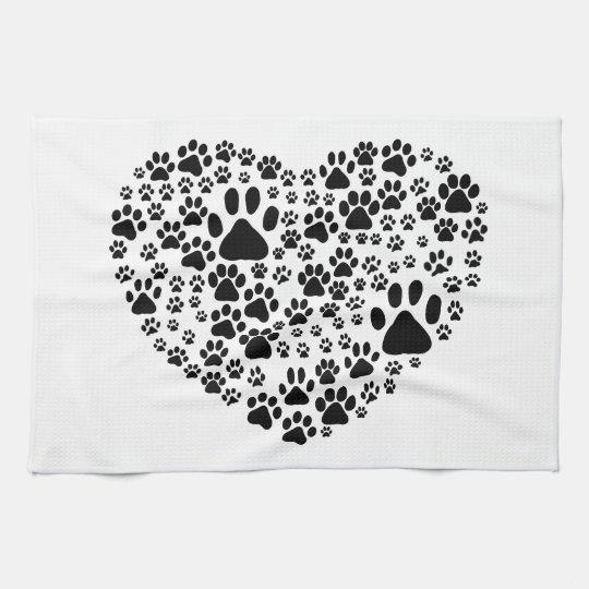 Dog Paws, Trails, Paw-prints, Heart - Black Towel