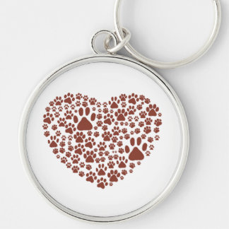Dog Paws, Trails, Paw-prints, Heart - Brown Silver-Colored Round Keychain