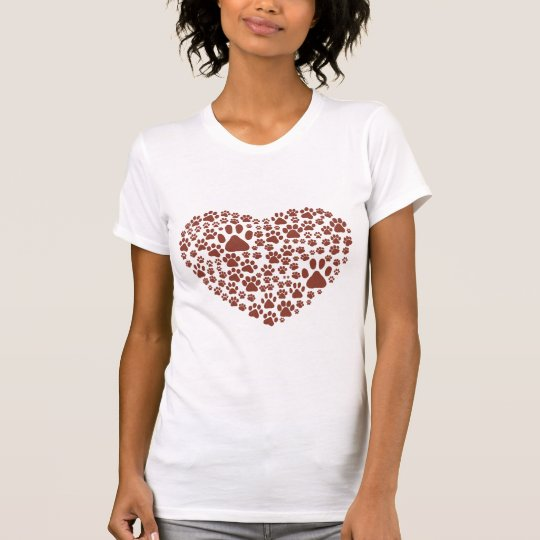 Dog Paws, Trails, Paw-prints, Heart - Brown T-Shirt