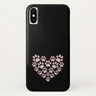 Dog Paws, Trails, Paw-prints, Heart - Pink iPhone X Case
