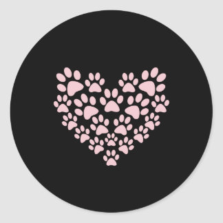 Dog Paws Trails Paw-prints Heart - Pink Stickers