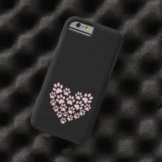 Dog Paws, Trails, Paw-prints, Heart - Pink Tough iPhone 6 Case