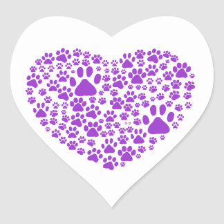 Dog Paws, Trails, Paw-prints, Heart - Purple Heart Sticker