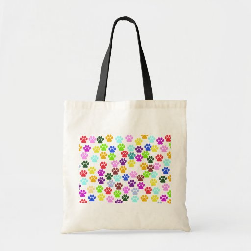 Dog Paws, Trails, Paw-prints - Red Blue Green Tote Bags