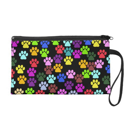 Dog Paws, Trails, Paw-prints - Red Blue Green Wristlet Purses