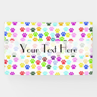 Dog Paws, Trails, Paw-prints - Red Blue Green Banner