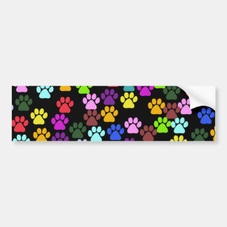 Dog Paws, Trails, Paw-prints - Red Blue Green Bumper Sticker