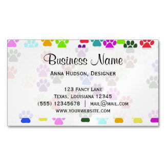 Dog Paws, Trails, Paw-prints - Red Blue Green Business Card Magnet